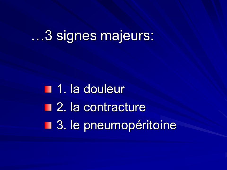 …3 signes majeurs: 1. la douleur 2. la contracture