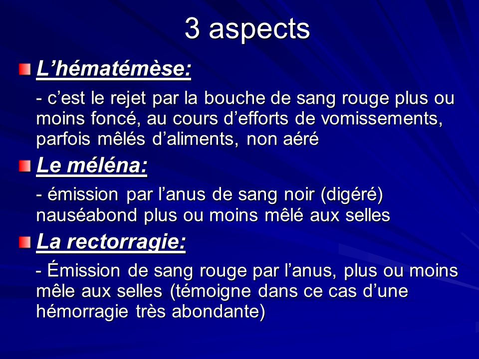 3 aspects L'hématémèse: