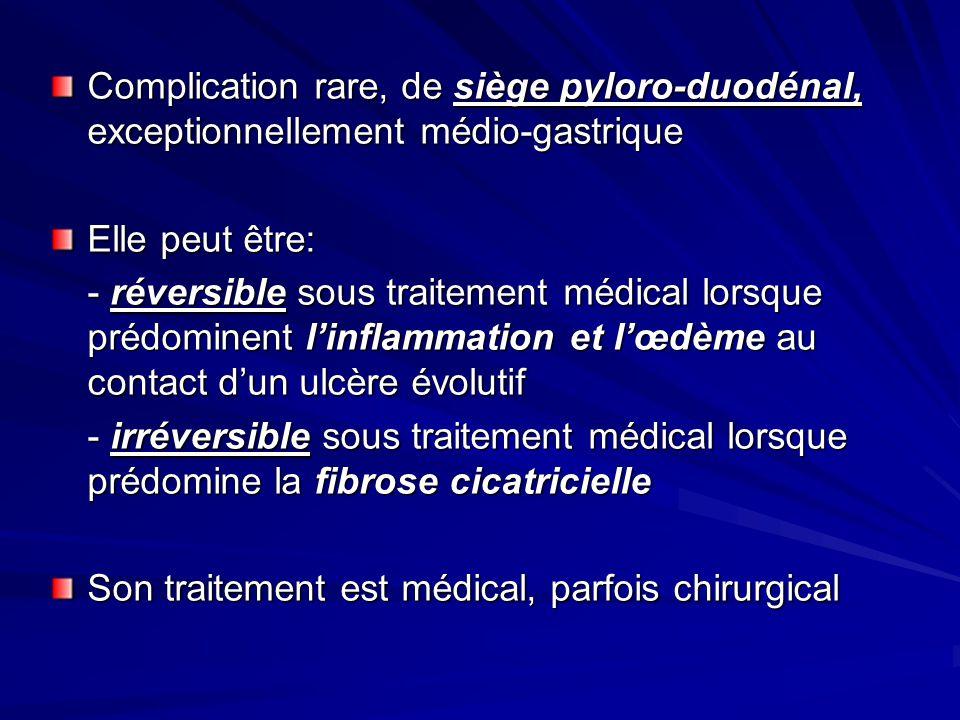 Complication rare, de siège pyloro-duodénal, exceptionnellement médio-gastrique