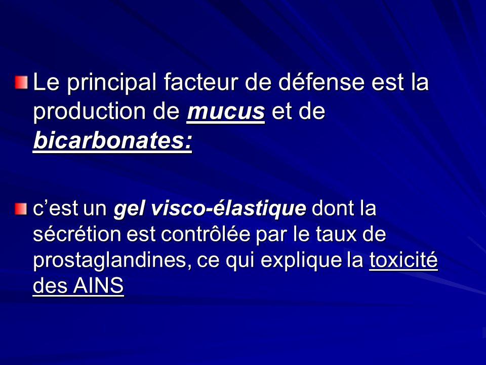 Le principal facteur de défense est la production de mucus et de bicarbonates: