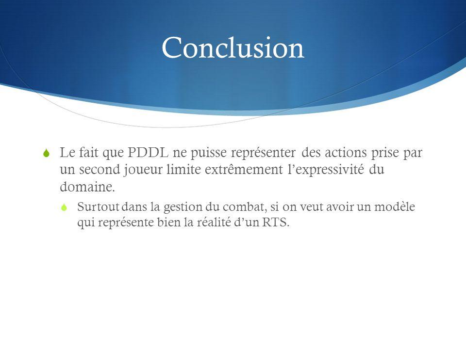 Conclusion Le fait que PDDL ne puisse représenter des actions prise par un second joueur limite extrêmement l'expressivité du domaine.