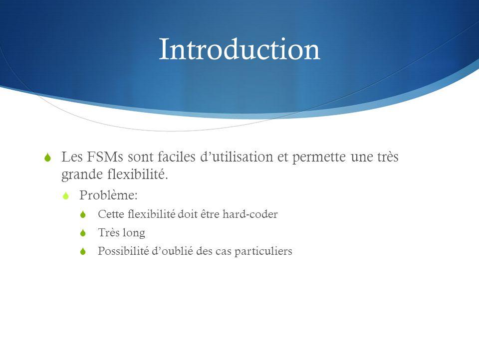 Introduction Les FSMs sont faciles d'utilisation et permette une très grande flexibilité. Problème: