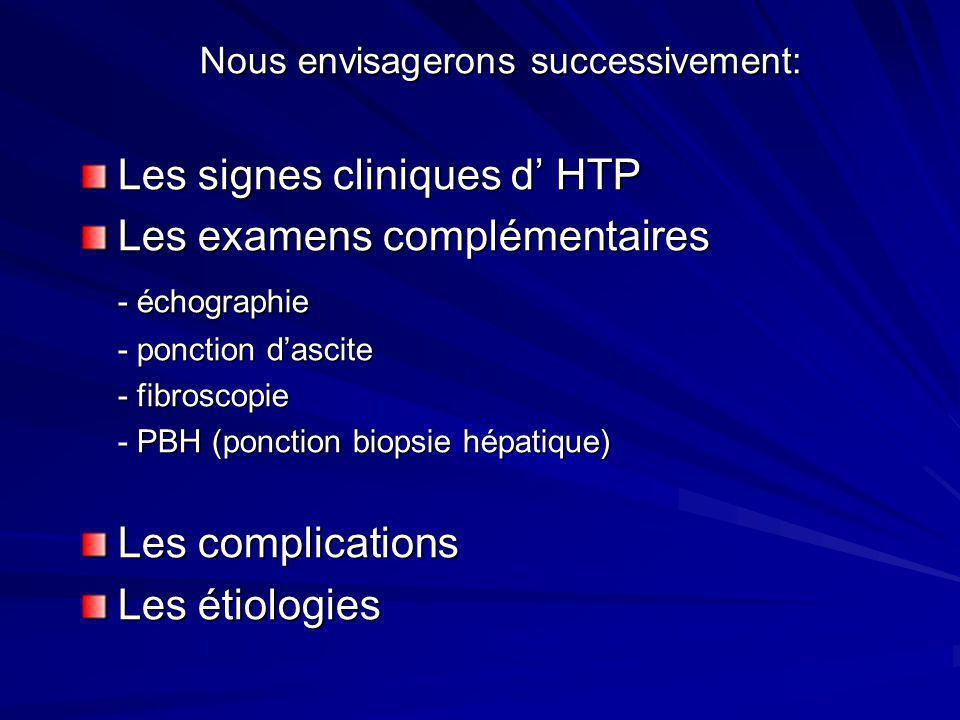 Nous envisagerons successivement: Les signes cliniques d' HTP