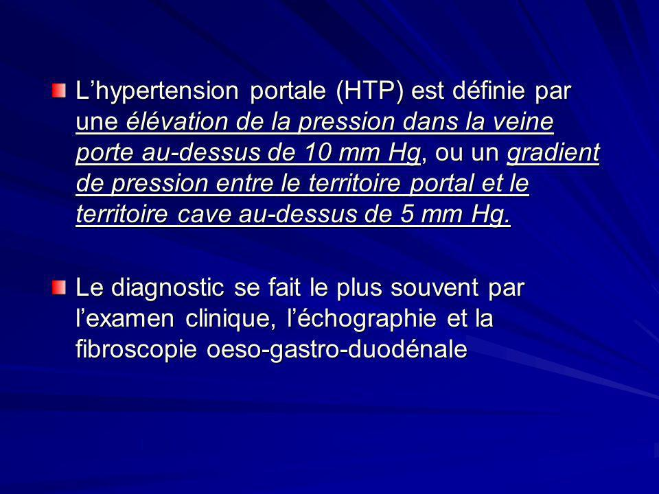 L'hypertension portale (HTP) est définie par une élévation de la pression dans la veine porte au-dessus de 10 mm Hg, ou un gradient de pression entre le territoire portal et le territoire cave au-dessus de 5 mm Hg.