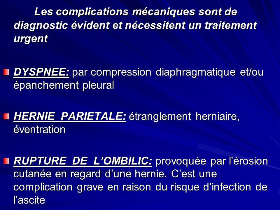 Les complications mécaniques sont de diagnostic évident et nécessitent un traitement urgent