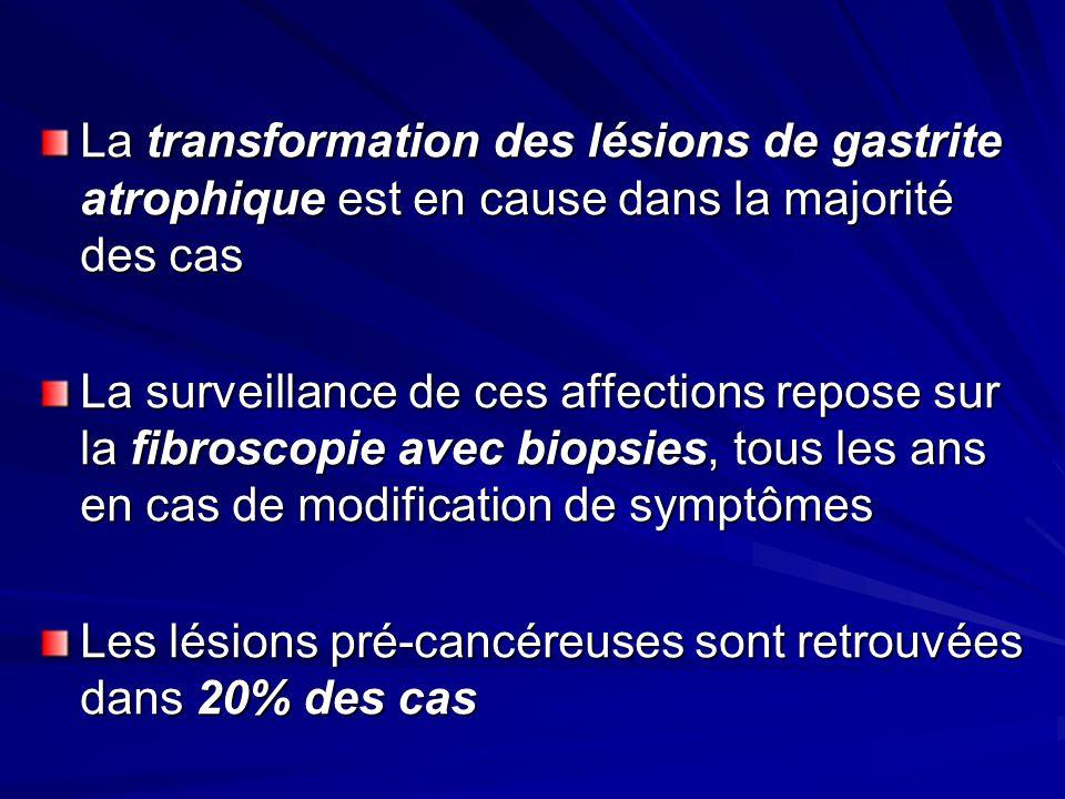 La transformation des lésions de gastrite atrophique est en cause dans la majorité des cas