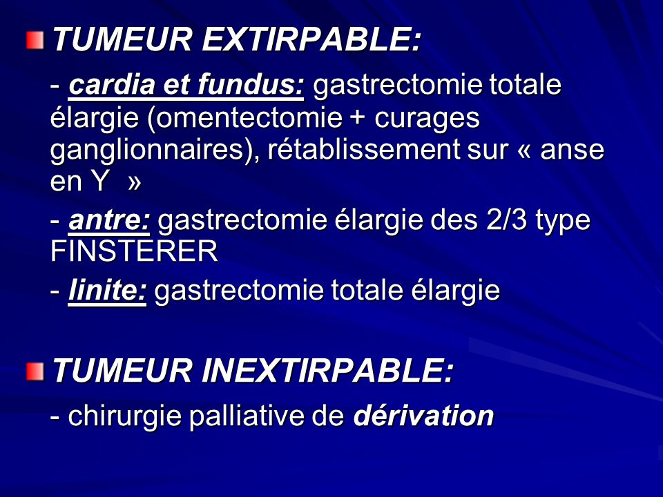 - chirurgie palliative de dérivation