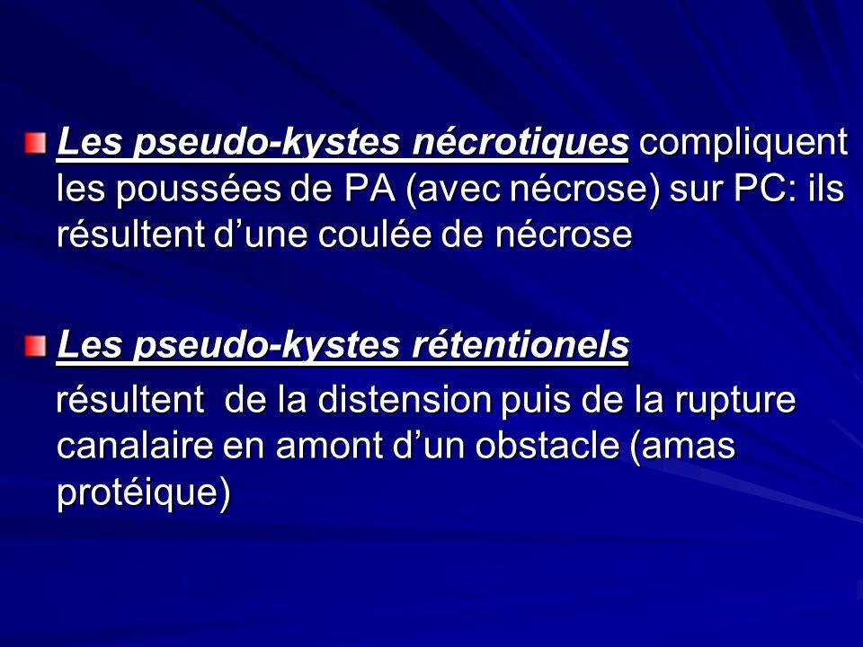 Les pseudo-kystes nécrotiques compliquent les poussées de PA (avec nécrose) sur PC: ils résultent d'une coulée de nécrose
