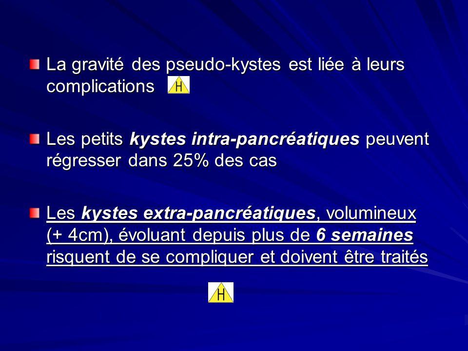 La gravité des pseudo-kystes est liée à leurs complications