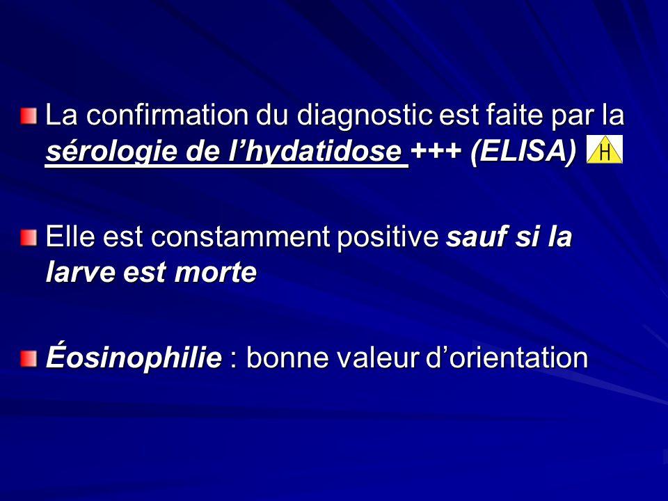 La confirmation du diagnostic est faite par la sérologie de l'hydatidose +++ (ELISA)