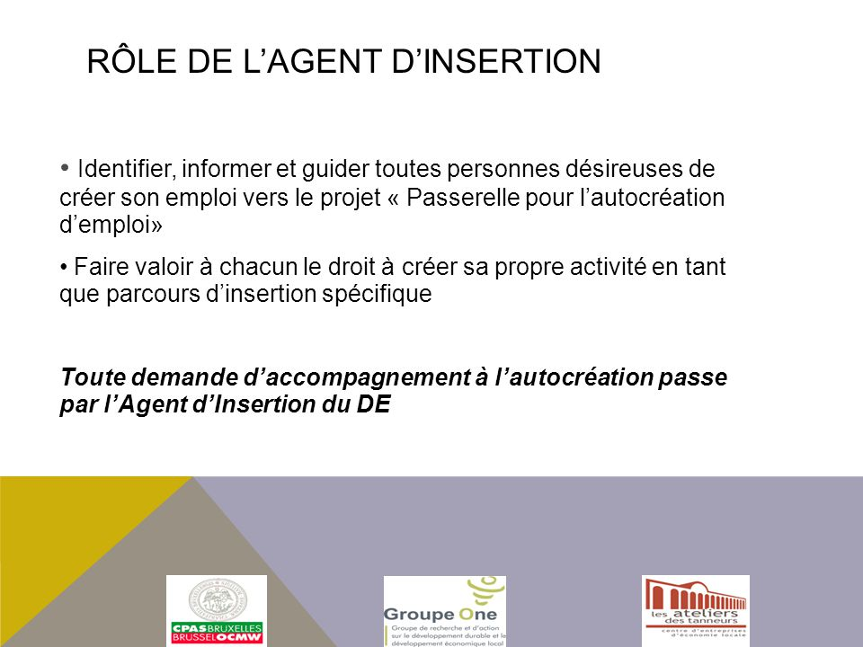 RÔLE DE L'AGENT D'INSERTION