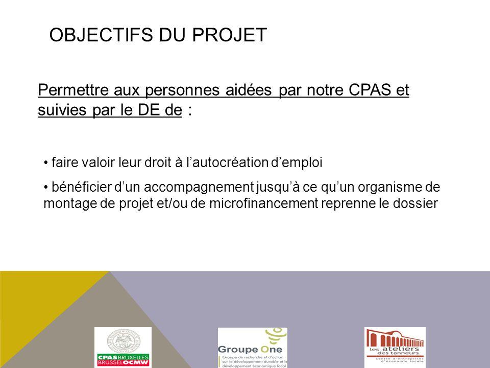 Objectifs du projet Permettre aux personnes aidées par notre CPAS et suivies par le DE de : faire valoir leur droit à l'autocréation d'emploi.