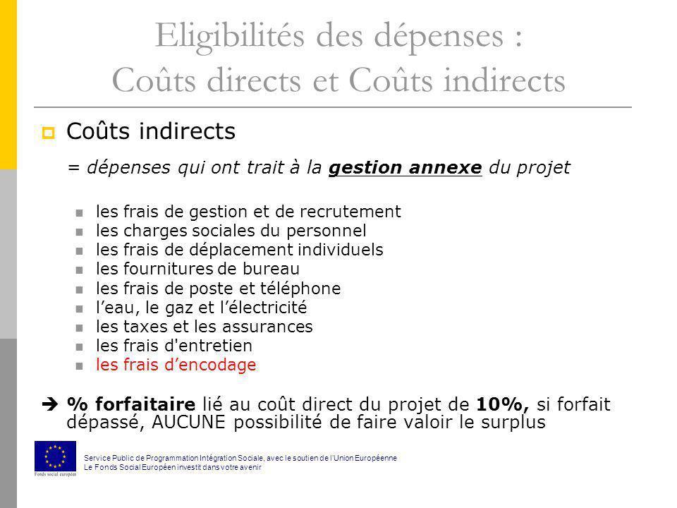 Eligibilités des dépenses : Coûts directs et Coûts indirects