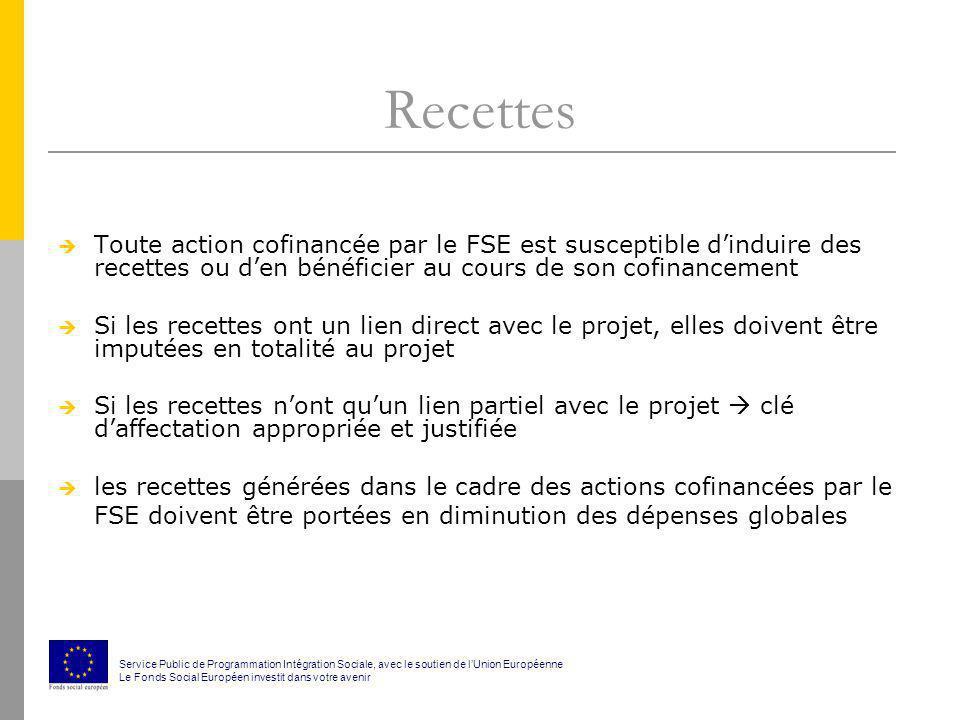 Recettes Toute action cofinancée par le FSE est susceptible d'induire des recettes ou d'en bénéficier au cours de son cofinancement.