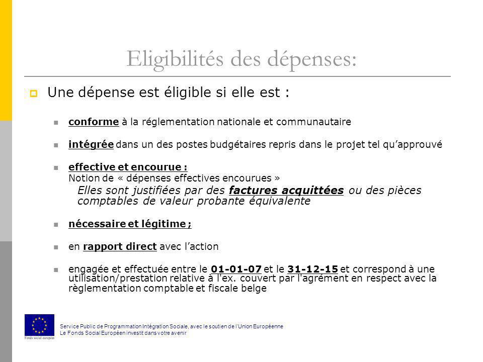Eligibilités des dépenses: