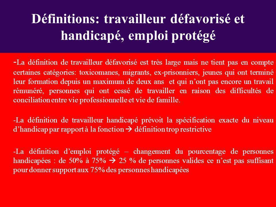 Définitions: travailleur défavorisé et handicapé, emploi protégé