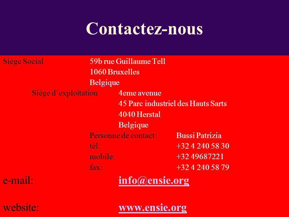 Contactez-nous e-mail: info@ensie.org website: www.ensie.org