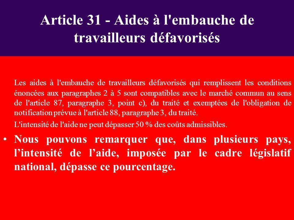 Article 31 - Aides à l embauche de travailleurs défavorisés