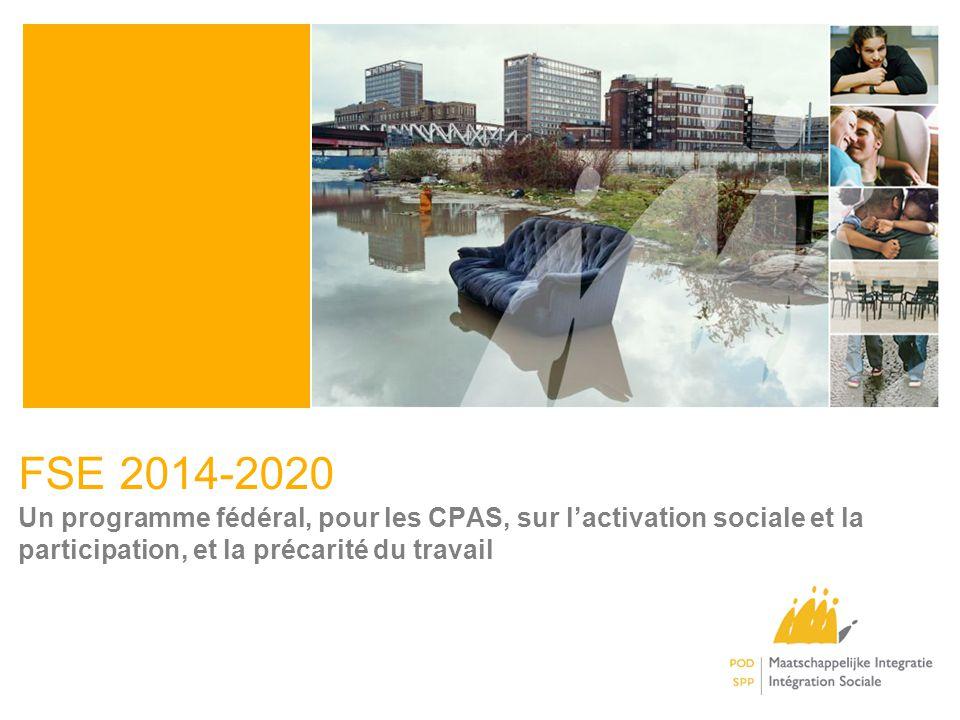 FSE 2014-2020 Un programme fédéral, pour les CPAS, sur l'activation sociale et la participation, et la précarité du travail.