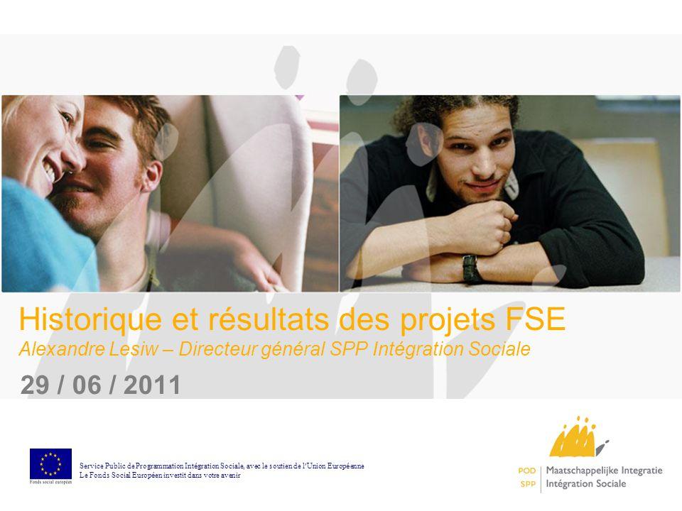 Historique et résultats des projets FSE Alexandre Lesiw – Directeur général SPP Intégration Sociale