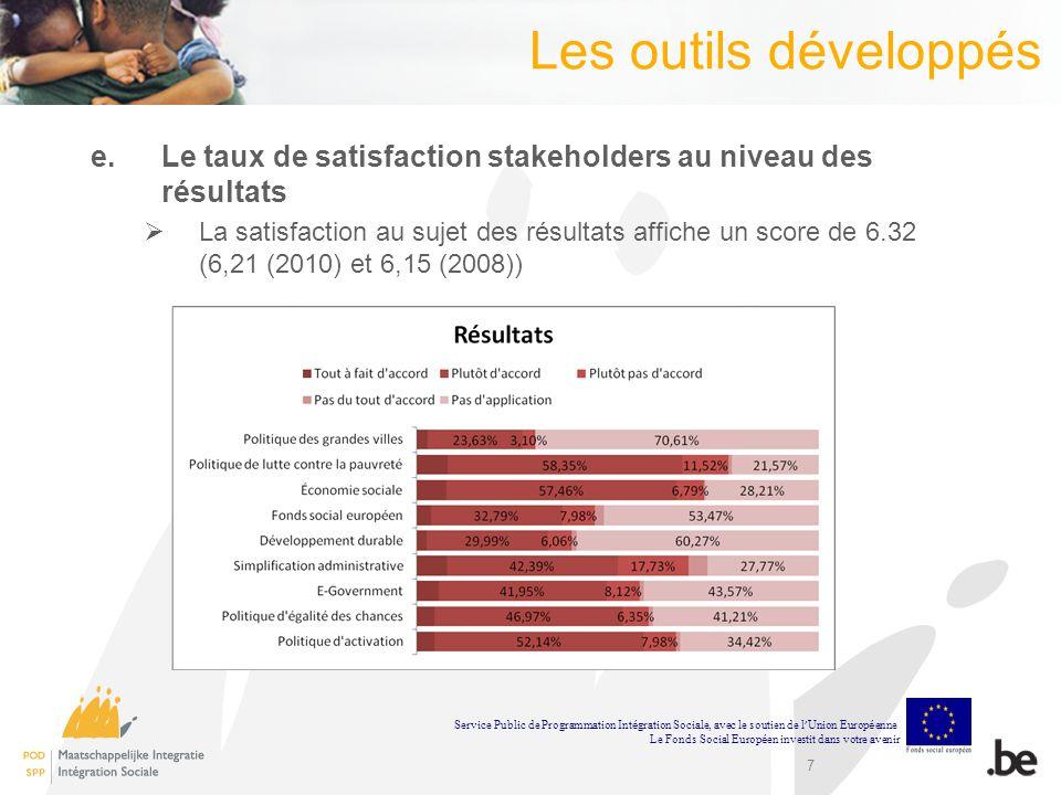 Les outils développés Le taux de satisfaction stakeholders au niveau des résultats.