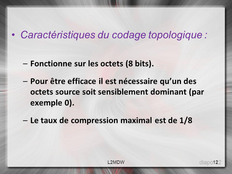 Caractéristiques du codage topologique :