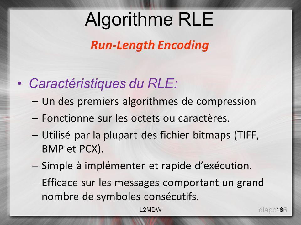 Algorithme RLE Run-Length Encoding Caractéristiques du RLE: