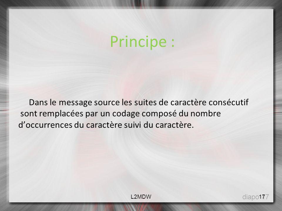 Principe : Dans le message source les suites de caractère consécutif