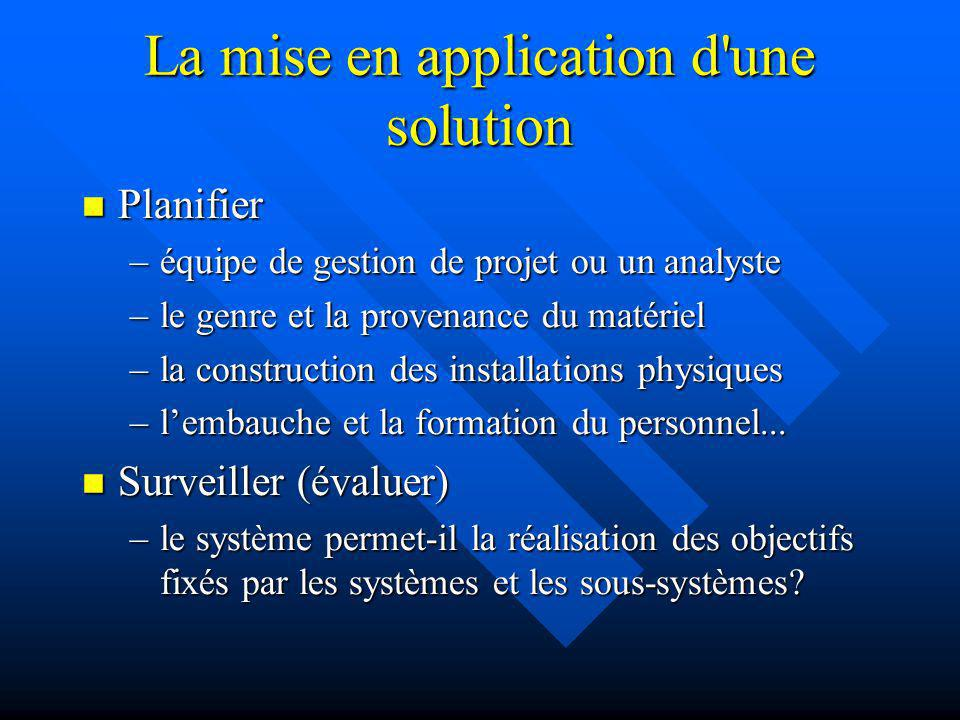 La mise en application d une solution
