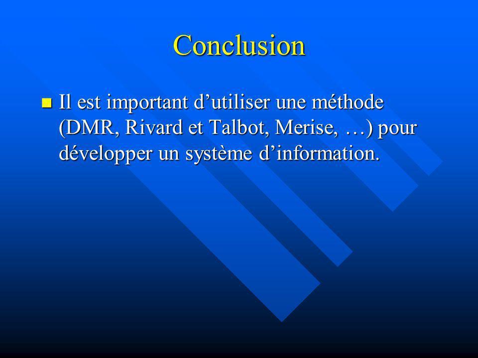 Conclusion Il est important d'utiliser une méthode (DMR, Rivard et Talbot, Merise, …) pour développer un système d'information.