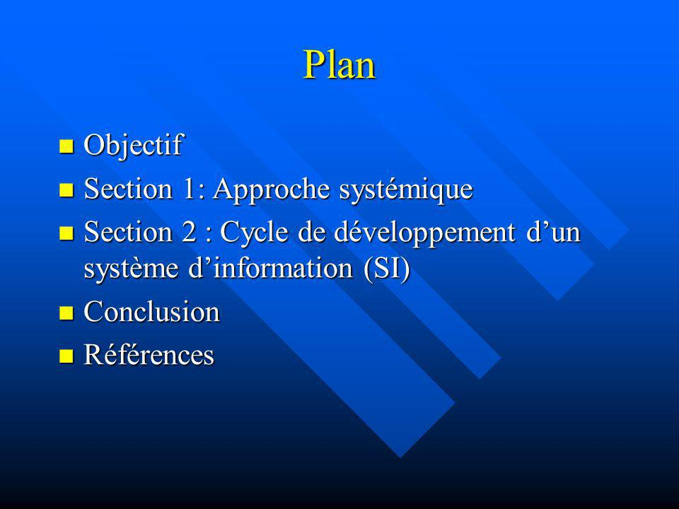 Plan Objectif Section 1: Approche systémique