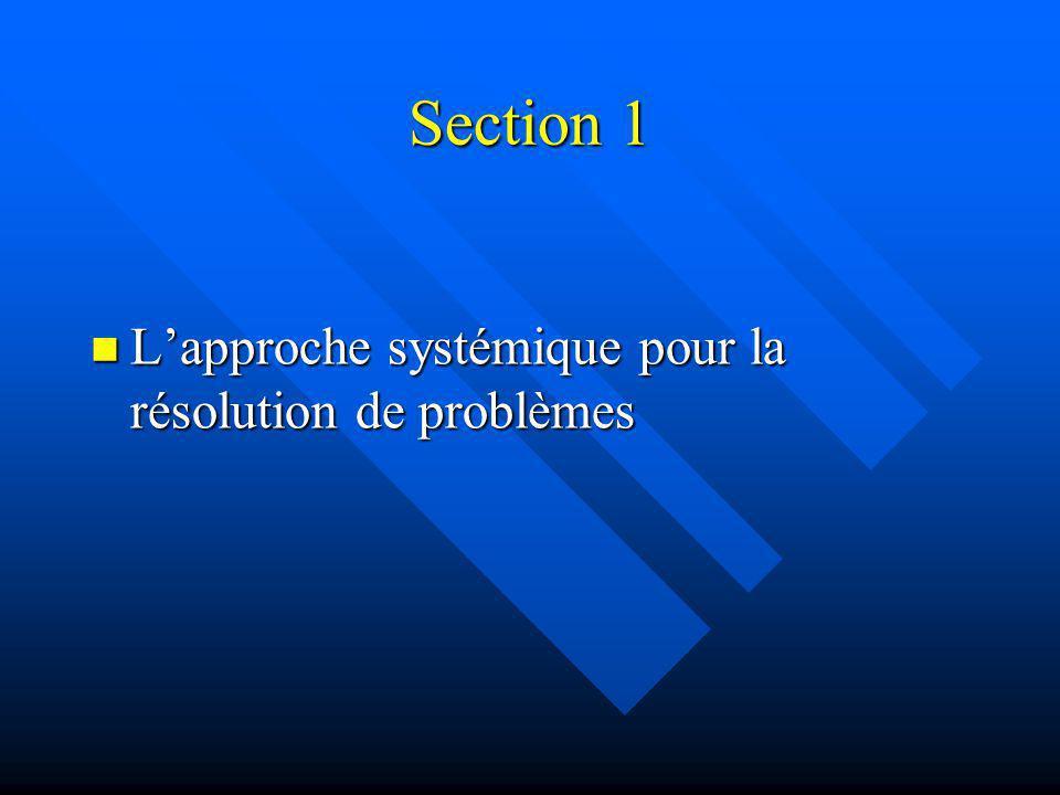 Section 1 L'approche systémique pour la résolution de problèmes 3 3
