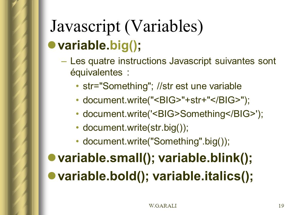 Javascript (Variables)