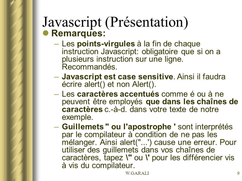 Javascript (Présentation)