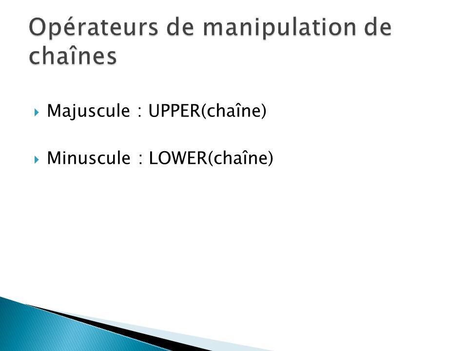 Opérateurs de manipulation de chaînes