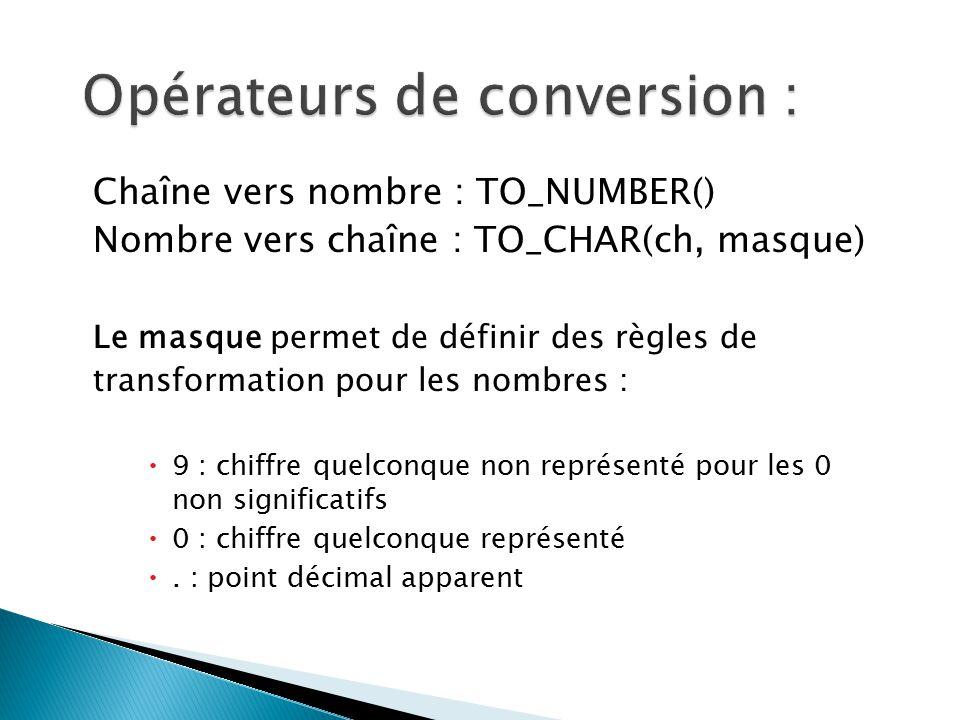 Opérateurs de conversion :