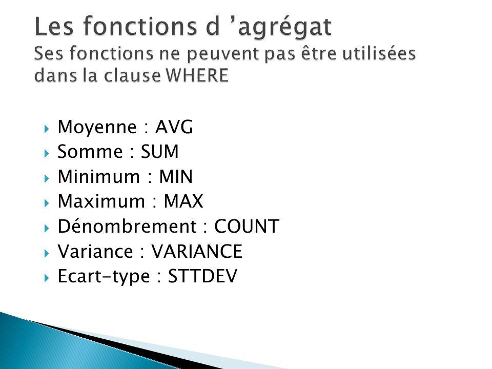 Les fonctions d 'agrégat Ses fonctions ne peuvent pas être utilisées dans la clause WHERE