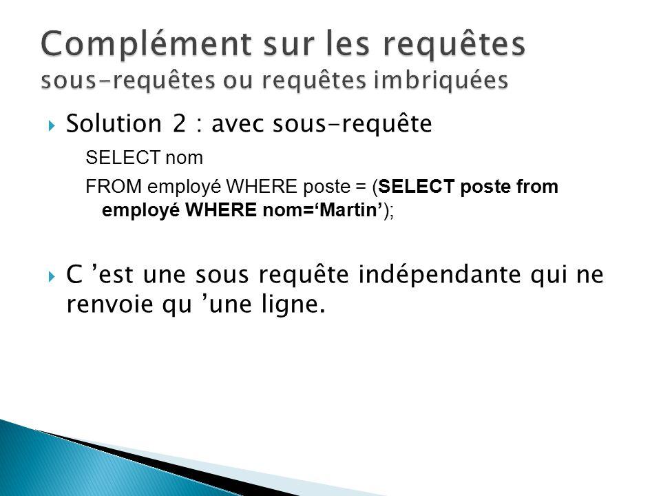 Complément sur les requêtes sous-requêtes ou requêtes imbriquées