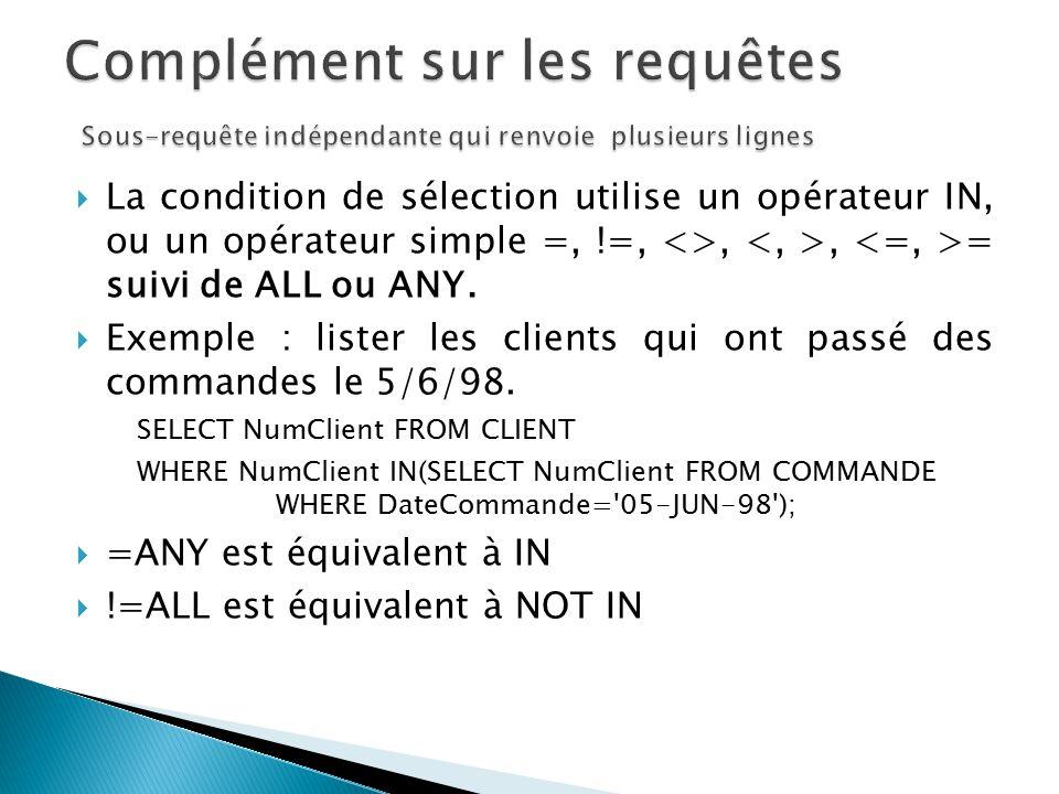 Complément sur les requêtes Sous-requête indépendante qui renvoie plusieurs lignes