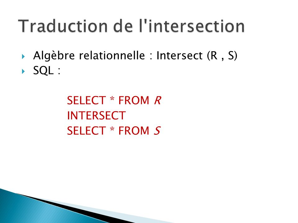 Traduction de l intersection