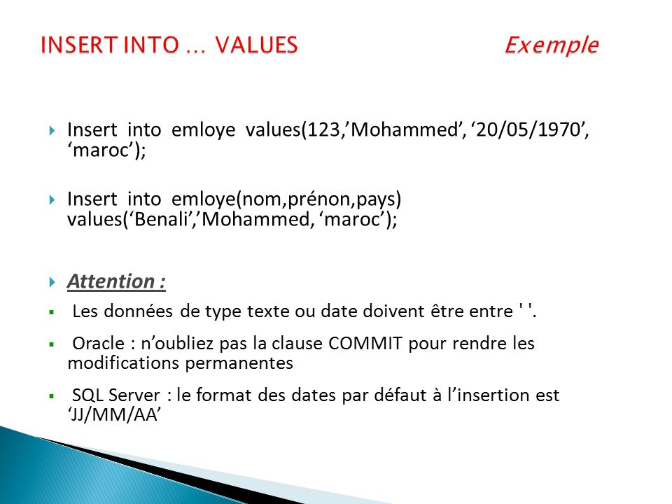 INSERT INTO … VALUES Exemple