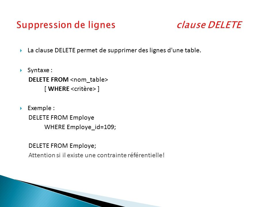 Suppression de lignes clause DELETE