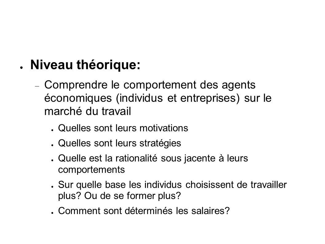 Niveau théorique: Comprendre le comportement des agents économiques (individus et entreprises) sur le marché du travail.