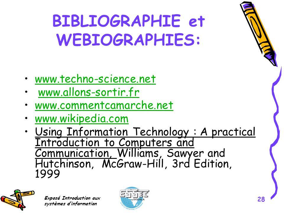 BIBLIOGRAPHIE et WEBIOGRAPHIES: