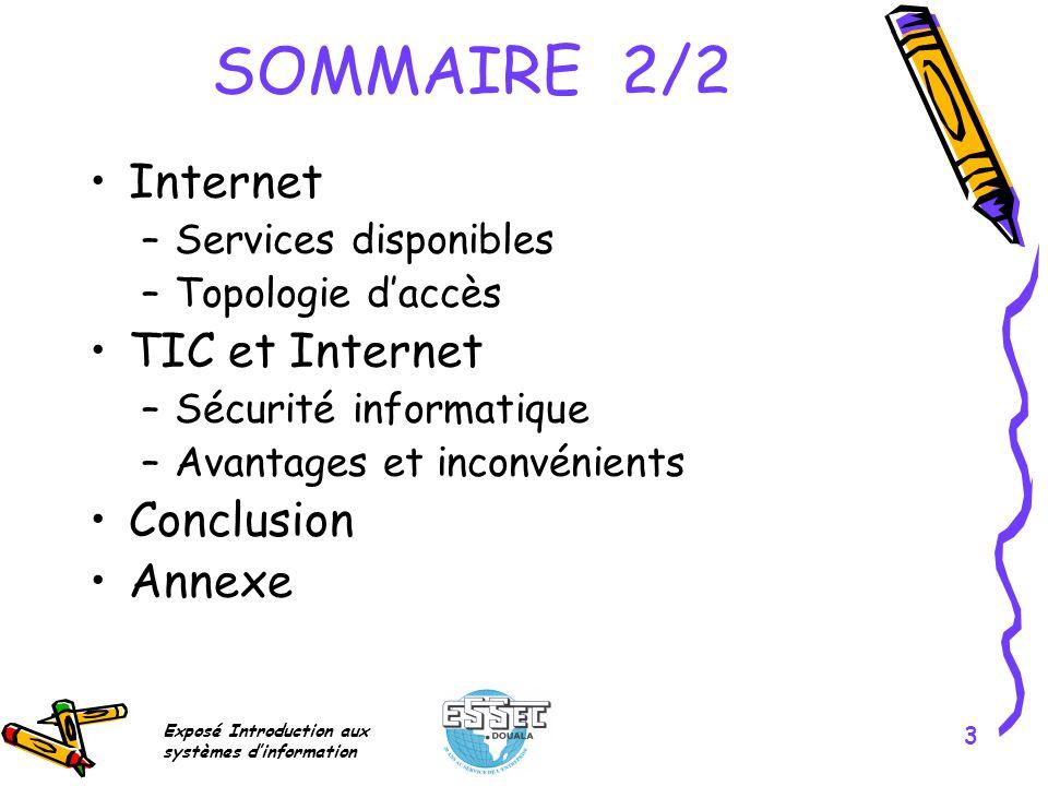 SOMMAIRE 2/2 Internet TIC et Internet Conclusion Annexe