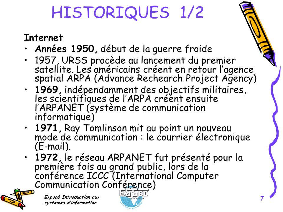 HISTORIQUES 1/2 Internet Années 1950, début de la guerre froide