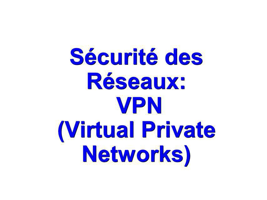Sécurité des Réseaux: VPN (Virtual Private Networks)