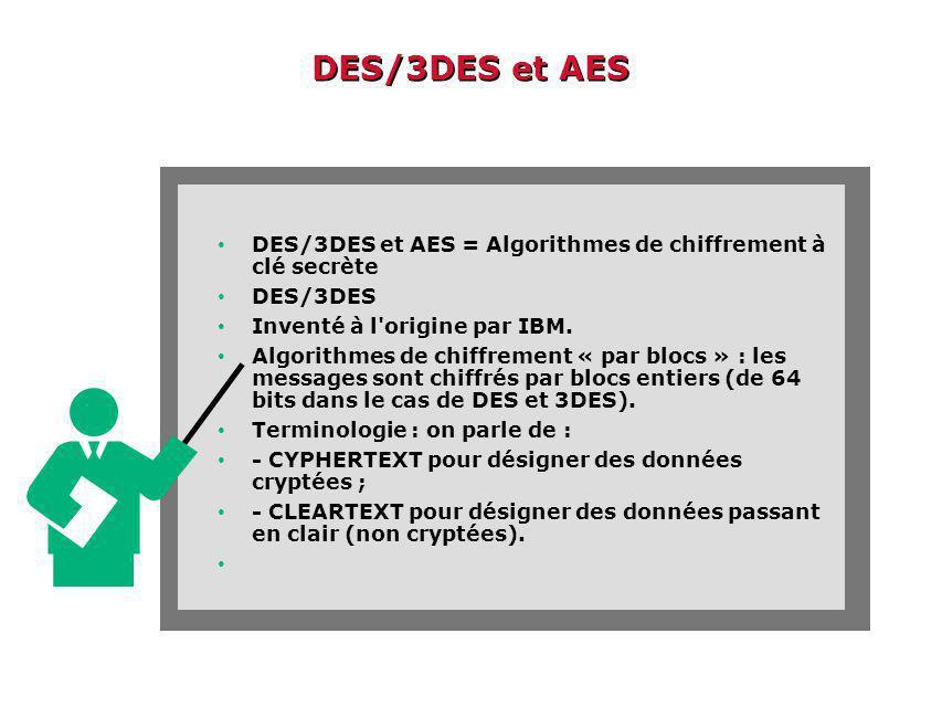 DES/3DES et AES DES/3DES et AES = Algorithmes de chiffrement à clé secrète. DES/3DES. Inventé à l origine par IBM.