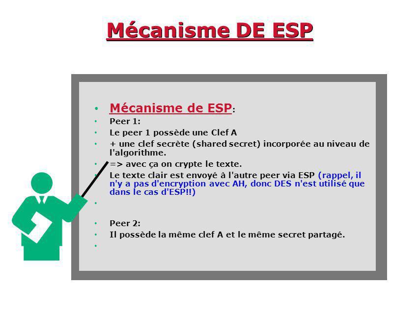 Mécanisme DE ESP Mécanisme de ESP: Peer 1: