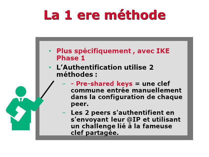 La 1 ere méthode Plus spécifiquement , avec IKE Phase 1
